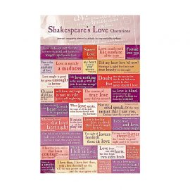 Shakespeare love quotations on a sheet of fridge magnets