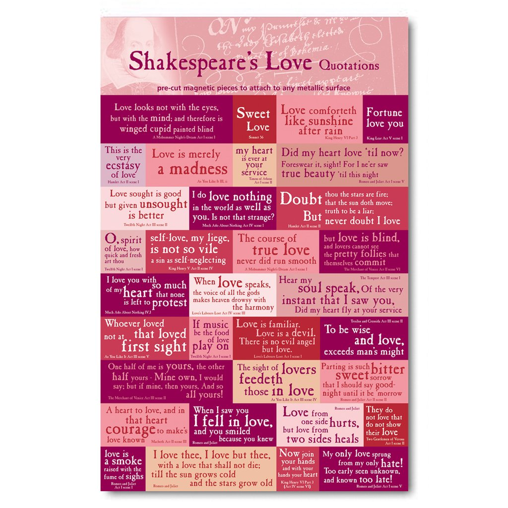 Shakespeare Love Quotes Shakespeare's Love  Magnet Set  Young Thinkers Guild