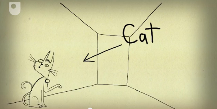 Schrodinger cat image from OU cartoon 60 second adventures in thought