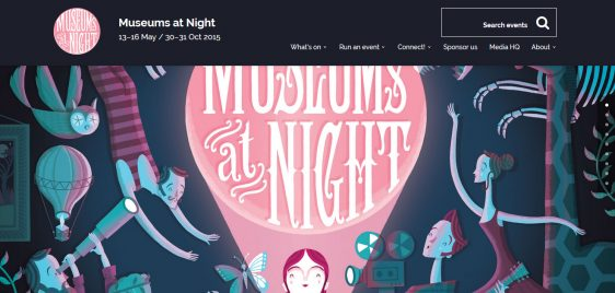 Museums at Night logo and cartoon picture