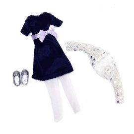 blue velvet dress and silver cardigan and ballet pumps for Lottie doll