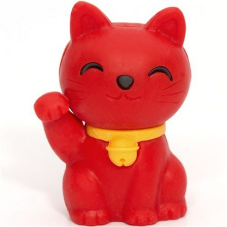 Iwako Eraser Lucky Cat Red