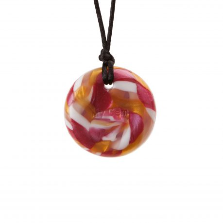 Chewigem Button Necklace - Heaton - Pink/Gold/White/Clear