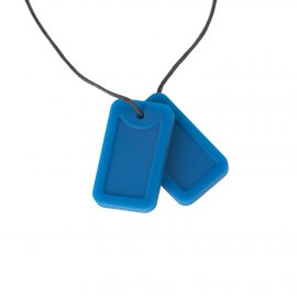 Chewigem necklace - blue marine dog tags