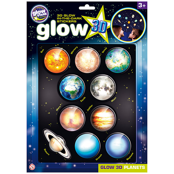 Glow 3D Planets Stickers packaged