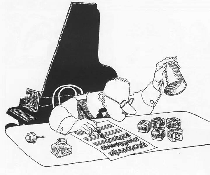 Cartoon by Classical Music Mode showing someone composing by rolling dice and copying notes off the face of the dice