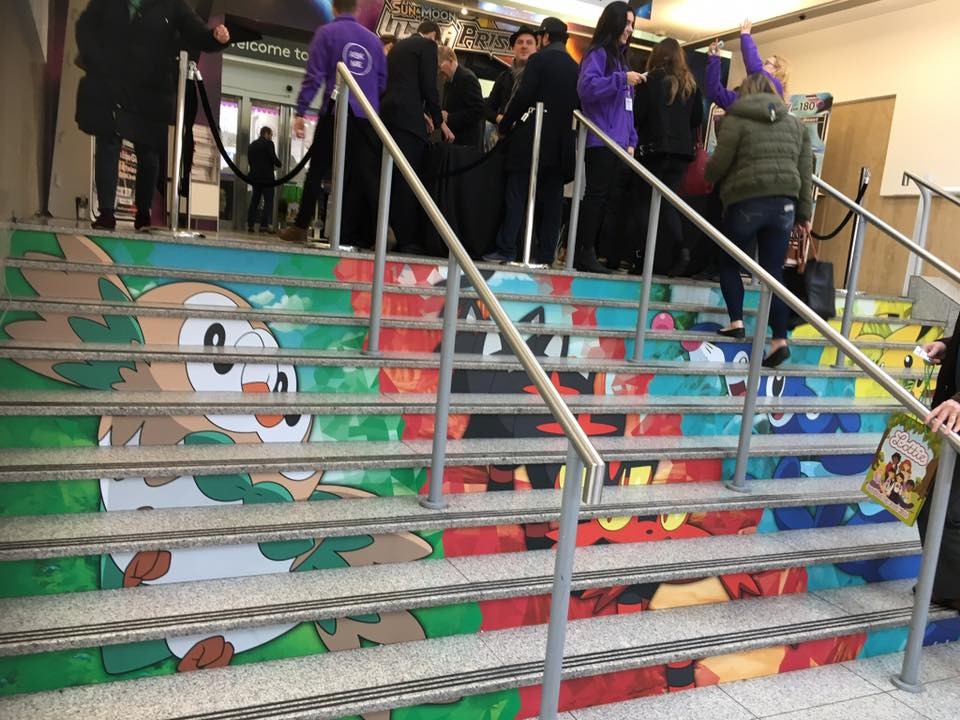 Pokemon decorated steps at London Olympia Toy Fair 2018